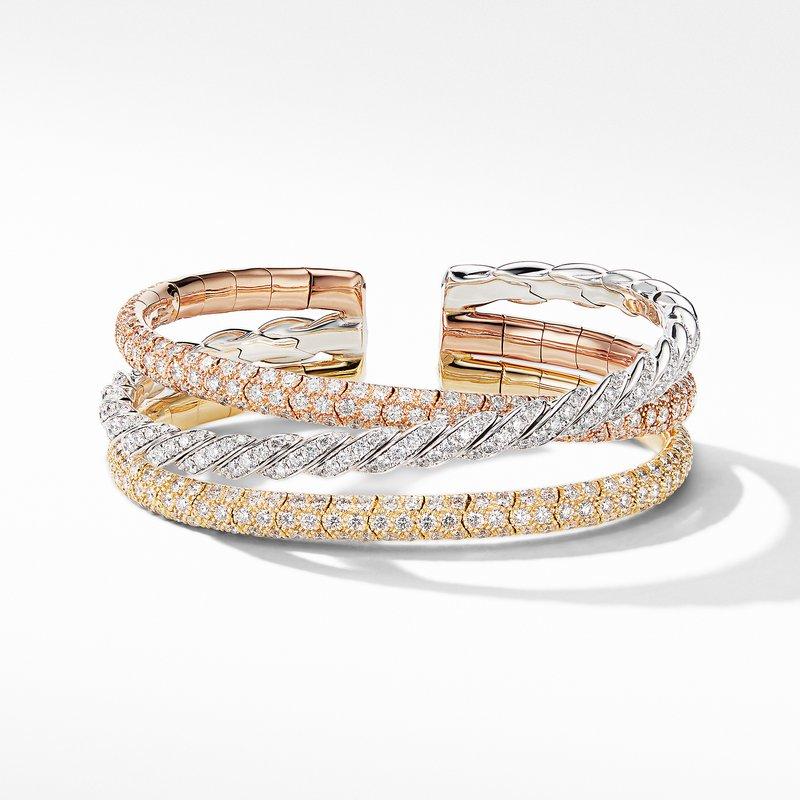 David Yurman Paveflex Three Row Bracelet in 18K Gold with Diamonds