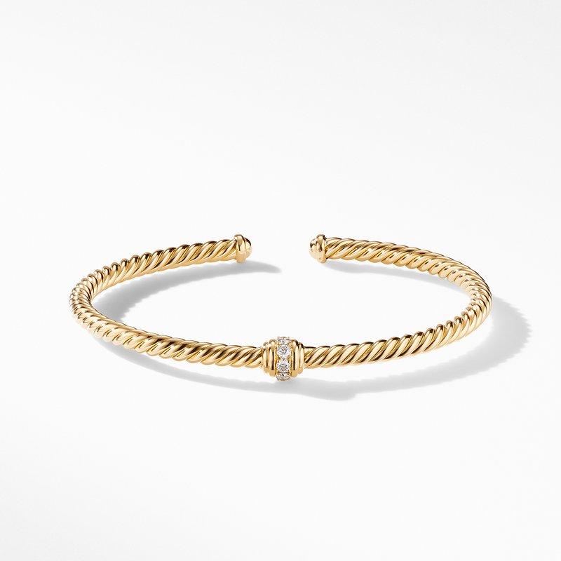 David Yurman Renaissance Center Station Bracelet 18K Yellow Gold with Diamonds