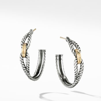 Cable Loop Hoop Earrings with 18K Gold