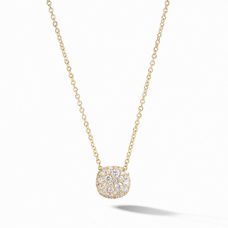 David Yurman Cushion Stud Pendant Necklace in 18K Yellow Gold with Pavé Diamonds