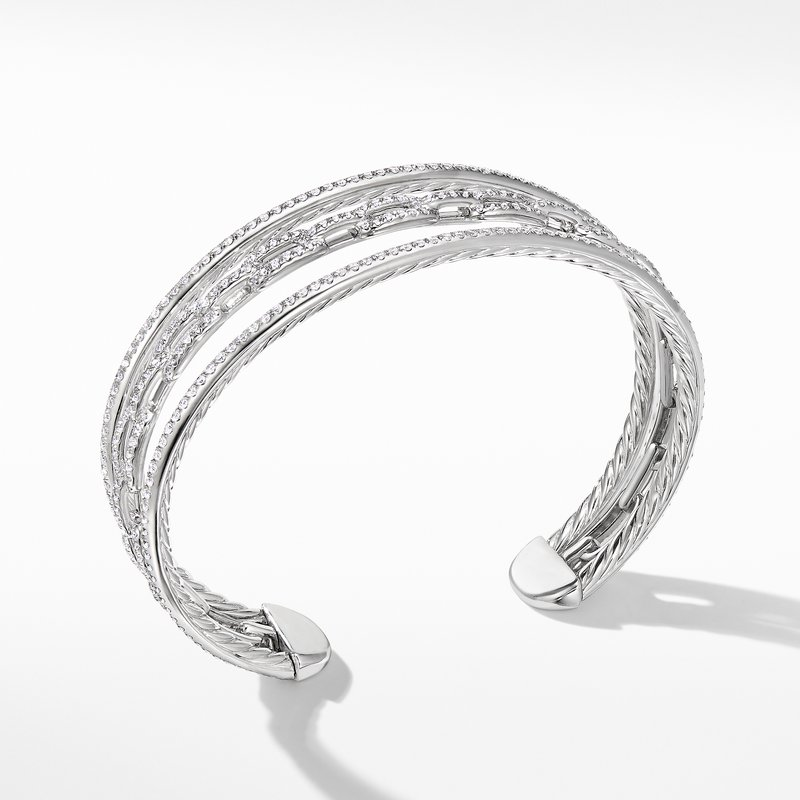 David Yurman Stax Three-Row Chain Link Bracelet in 18K White Gold with Diamonds
