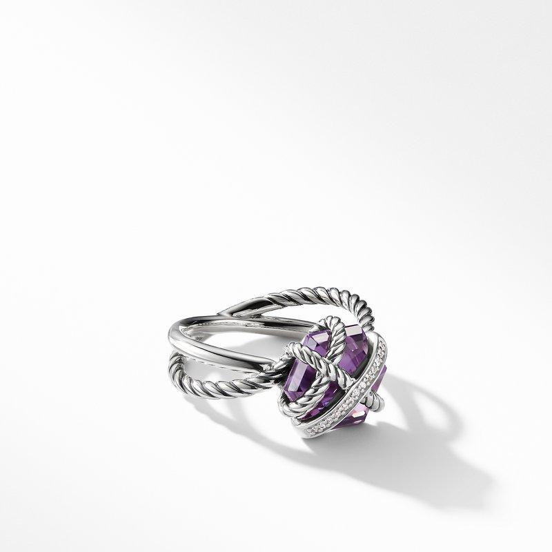 David Yurman Ring with Amethyst and Diamonds