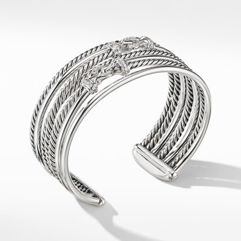 Buckle Crossover Cuff Bracelet with Diamonds