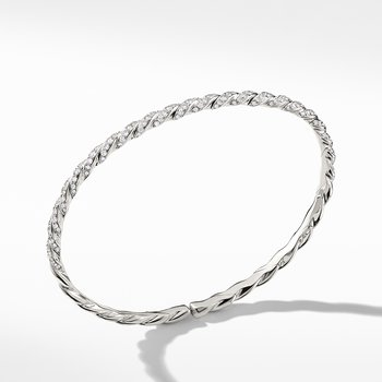 Pavéflex Single Row Bracelet with Diamonds in 18K White Gold