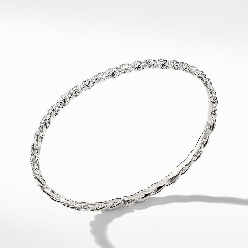 David Yurman Pavéflex Single Row Bracelet with Diamonds in 18K White Gold
