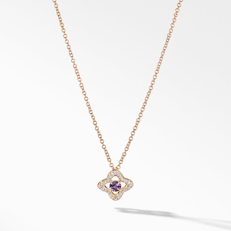 David Yurman Necklace with Amethyst and Diamonds in 18K Gold