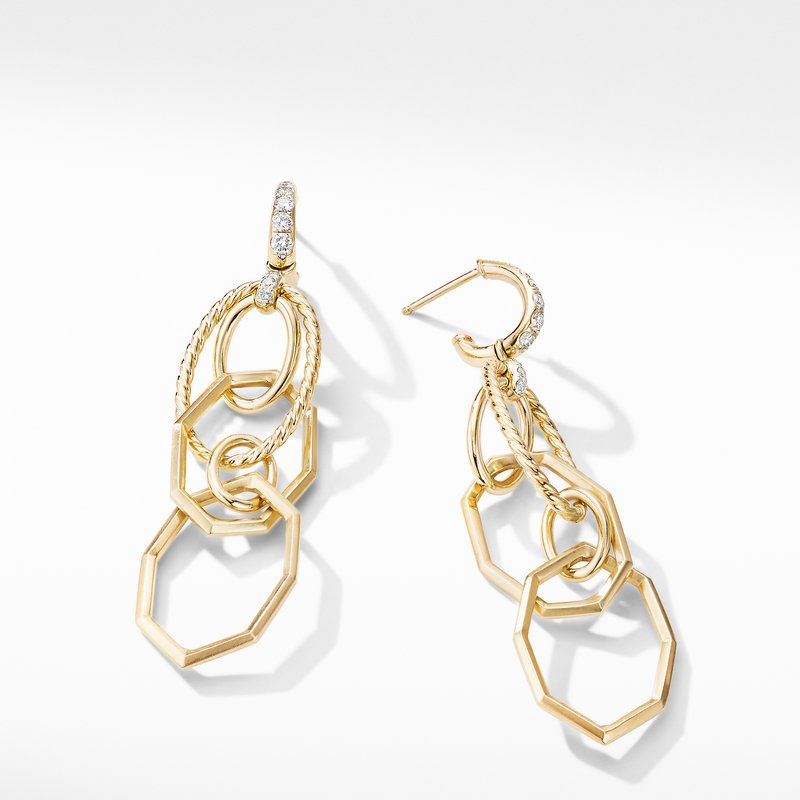 David Yurman Stax Mobile Drop Earrings in 18K Yellow Gold with Diamonds