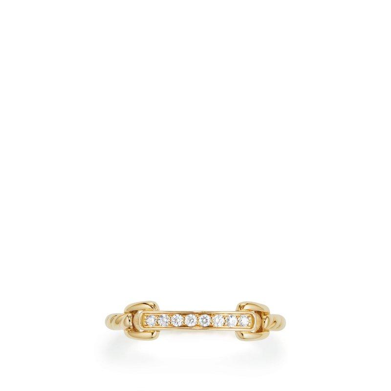 David Yurman Petite Pavé Ring with Diamonds in 18K Gold