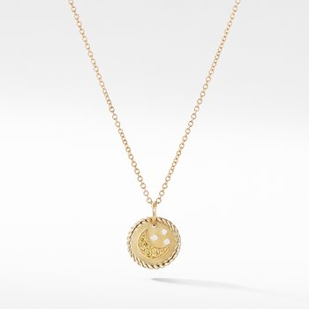 Cable Collectibles Moon and Stars Necklace with Diamonds and Yellow Sapphires in 18K Gold