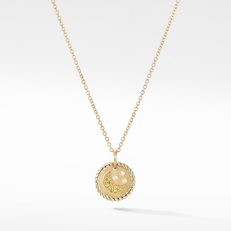 David Yurman Cable Collectibles Moon and Stars Necklace with Diamonds and Yellow Sapphires in 18K Gold