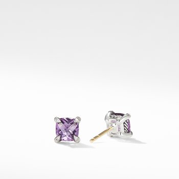 Chatelaine® Stud Earrings with Amethyst and Diamonds