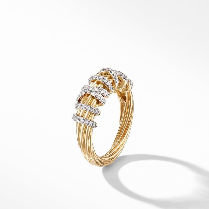 David Yurman Helena Small Ring with 18K Yellow Gold and Diamonds