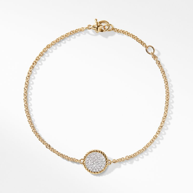David Yurman Cable Pave Charm Bracelet with Diamonds in Gold