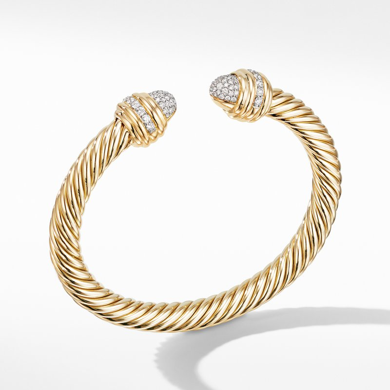 David Yurman Cable Bracelet in 18K Yellow with Diamonds
