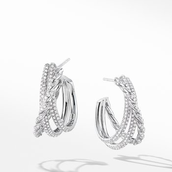 Paveflex Shrimp Earrings with Diamonds in 18K White Gold