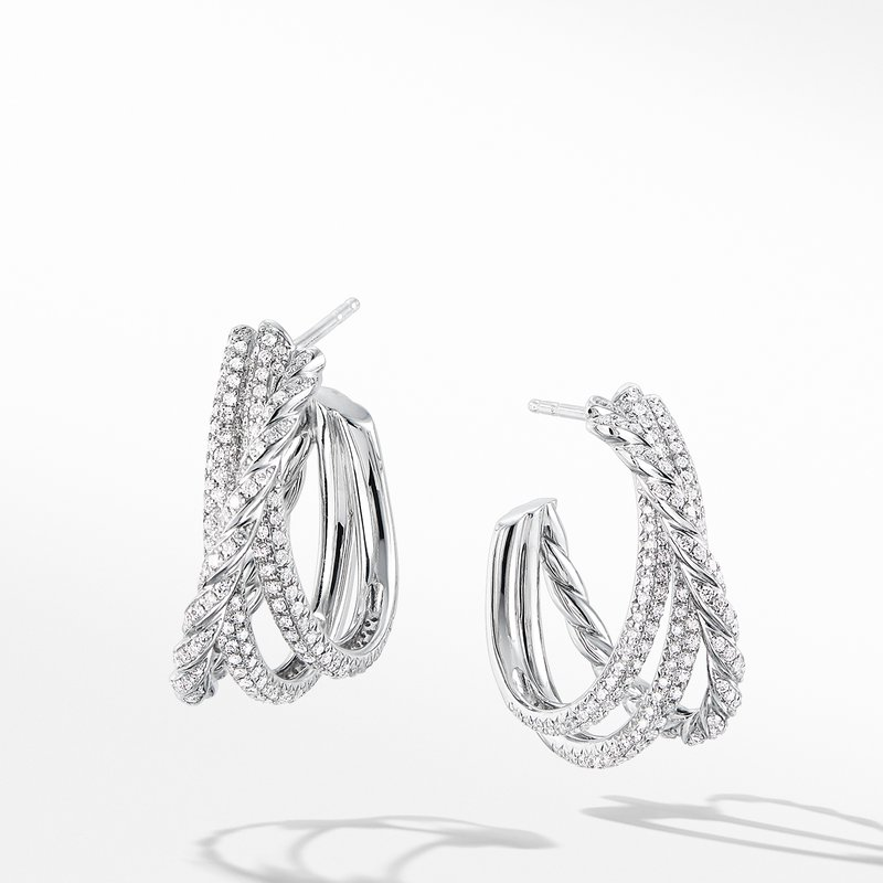 David Yurman Paveflex Shrimp Earrings with Diamonds in 18K White Gold