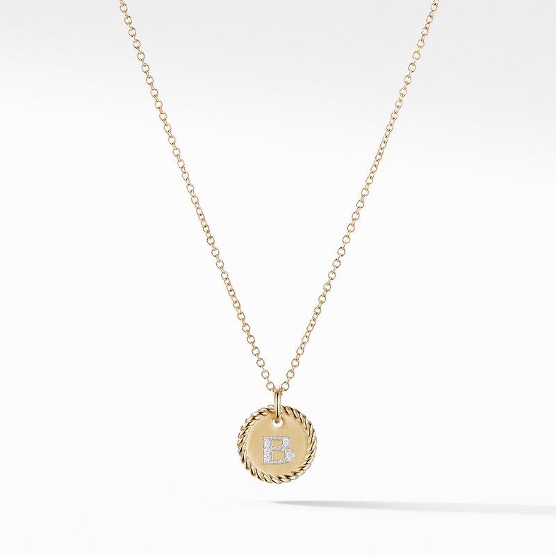 David Yurman Initial Charm Necklace with Diamonds in 18K Gold