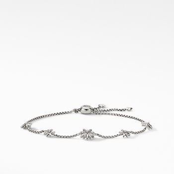 Petite Starburst Station Chain Bracelet with Pavé Diamonds