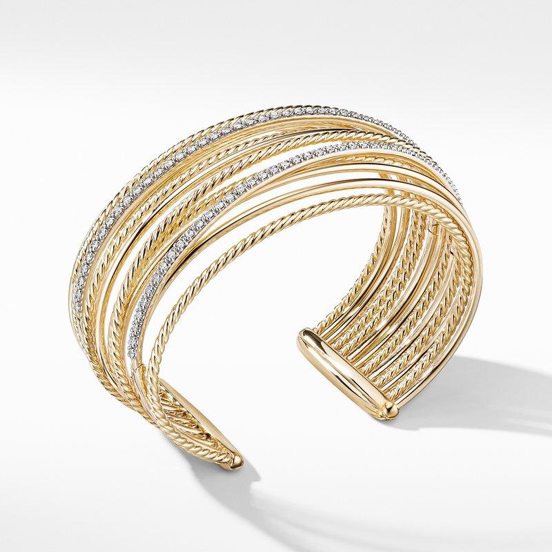 David Yurman Crossover Cuff Bracelet in 18K Yellow Gold with Diamonds