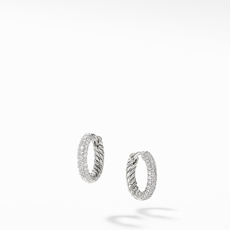 David Yurman Petite Pavé Huggie Hoop Earrings with Diamonds
