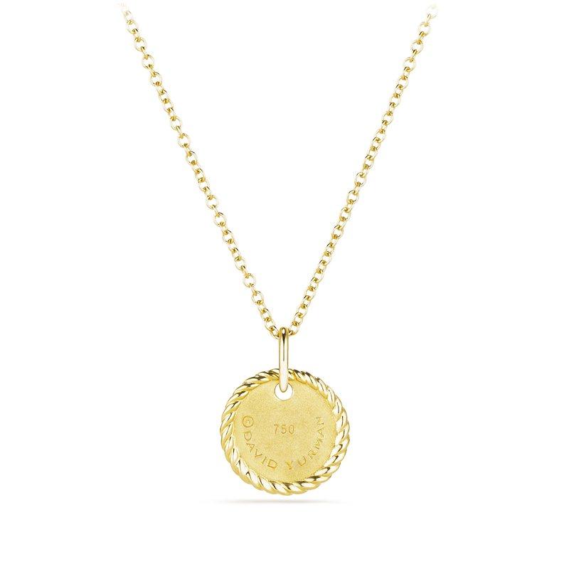 """David Yurman """"N"""" Pendant with Diamonds in Gold on Chain"""