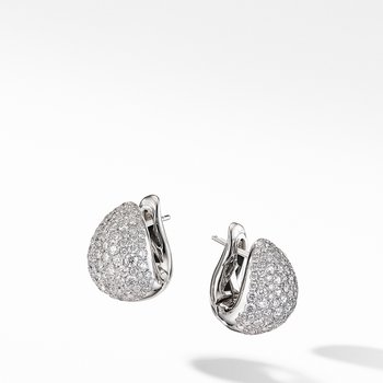 Pear Huggie Hoop Earrings in 18K White Gold with Pavé Diamonds