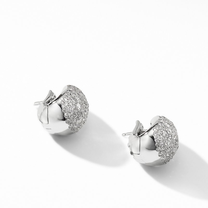 David Yurman Pear Huggie Hoop Earrings in 18K White Gold with Pavé Diamonds