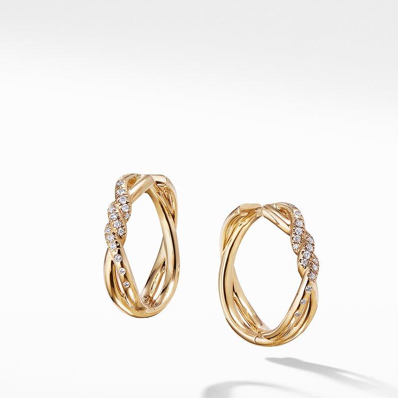 David Yurman Continuance® Hoop Earrings with Diamonds in 18K Gold