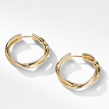 Continuance® Hoop Earrings with Diamonds in 18K Gold