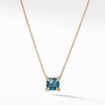 Pendant Necklace with Hampton Blue Topaz and Diamonds in 18K Gold