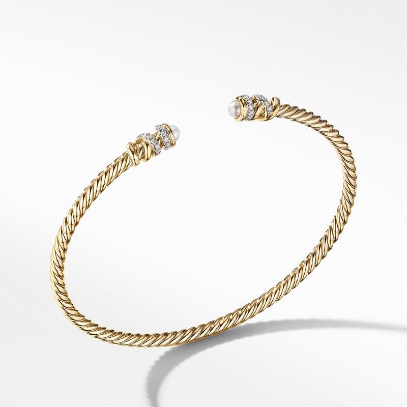 David Yurman Petite Helena Open Bracelet in 18K Yellow Gold with Pearls and Diamonds