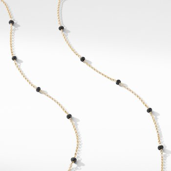 Cable Collectibles® Bead and Chain Necklace in 18K Yellow Gold with Black Spinels