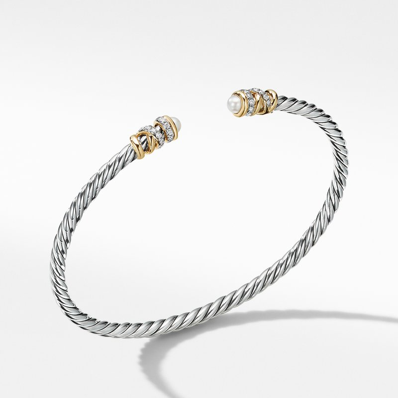 David Yurman Petite Helena Open Bracelet with Pearls, 18K Yellow Gold and Diamonds