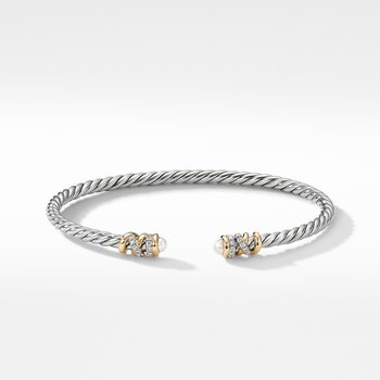 Petite Helena Open Bracelet with Pearls, 18K Yellow Gold and Diamonds
