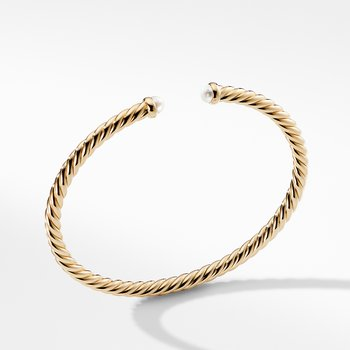 Cable Spira Bracelet with Pearls in 18K Gold