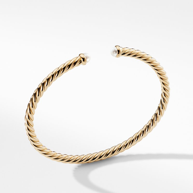 David Yurman Cable Spira Bracelet with Pearls in 18K Gold