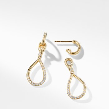 Continuance Medium Drop Earrings with Diamonds in 18K Gold