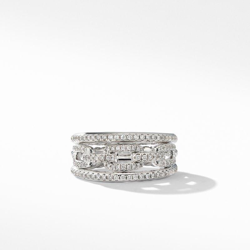 David Yurman Stax Three-Row Chain Link Ring in 18K White Gold and Diamonds