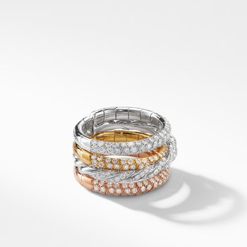 Pavéflex Four Row Ring with Diamonds in 18K Gold