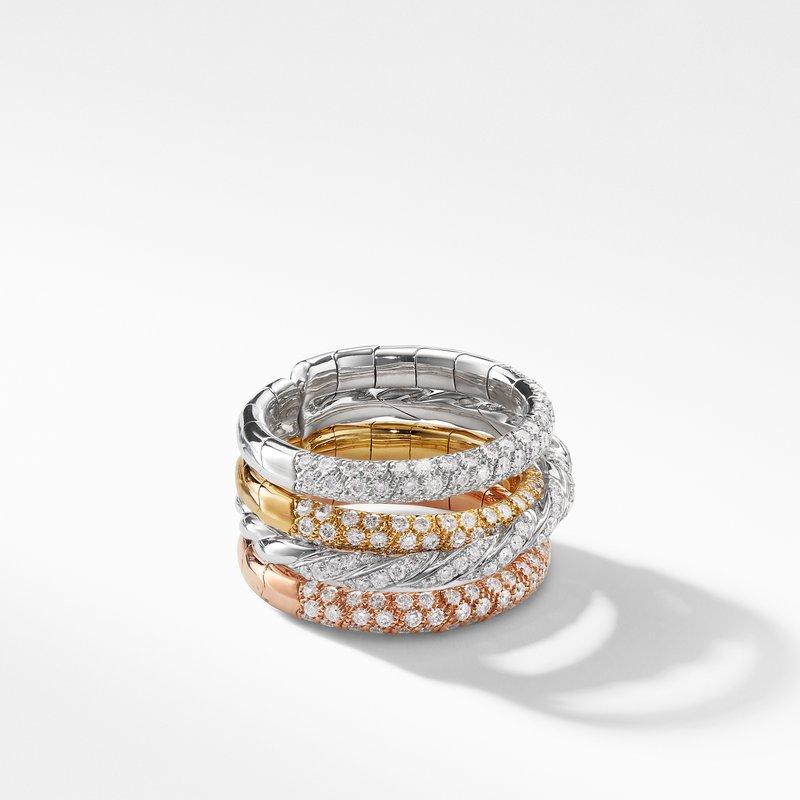 David Yurman Pavéflex Four Row Ring with Diamonds in 18K Gold
