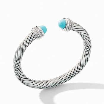 Cable Bracelet with Turquoise and Pavé Diamonds