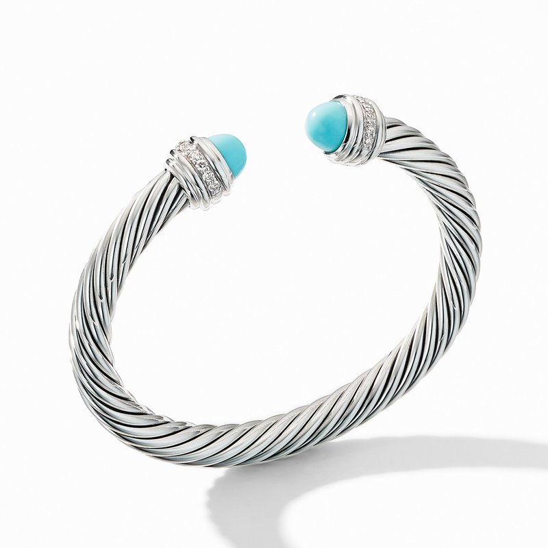 David Yurman Cable Bracelet with Turquoise and Pavé Diamonds