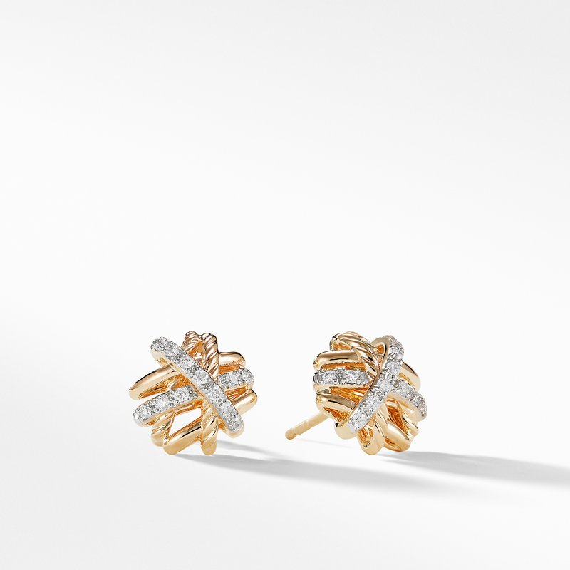 David Yurman Crossover Earrings with Diamonds in 18K Gold, 11mm