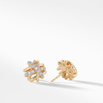 Crossover Earrings with Diamonds in 18K Gold, 11mm