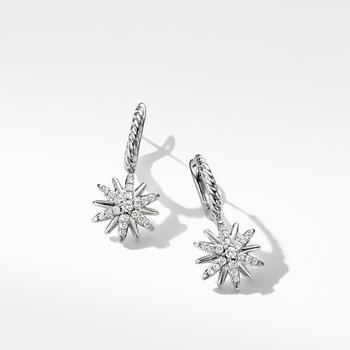 Starburst Drop Earrings with Pavé Diamonds