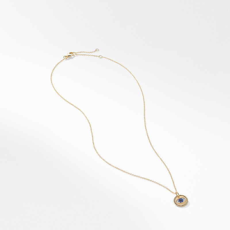 David Yurman Cable Collectibles Evil Eye Charm Necklace with Blue Sapphire and Diamonds in 18K Gold