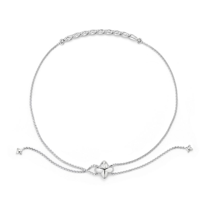 David Yurman Paveflex Station Bracelet with Diamonds in 18K White Gold