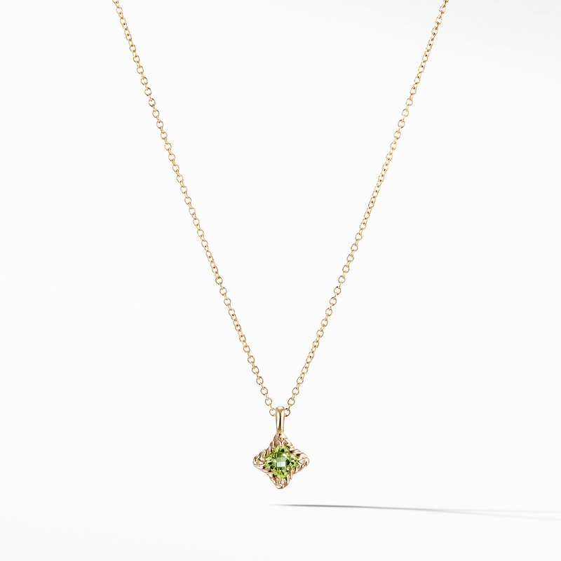 David Yurman Cable Collectibles® Kids Quad Charm Necklace with Peridot in 18K Gold