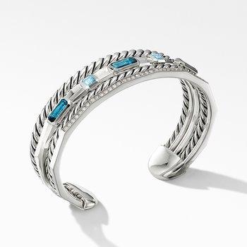 Stax Narrow Cuff Bracelet with Hampton Blue Topaz and Diamonds