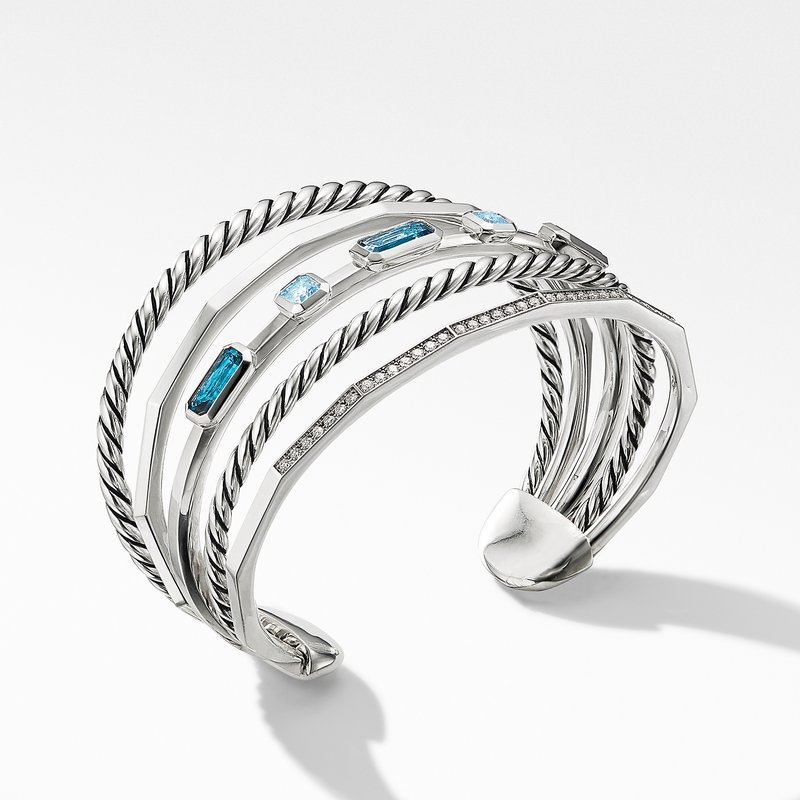 David Yurman Stax Narrow Cuff Bracelet with Hampton Blue Topaz and Diamonds